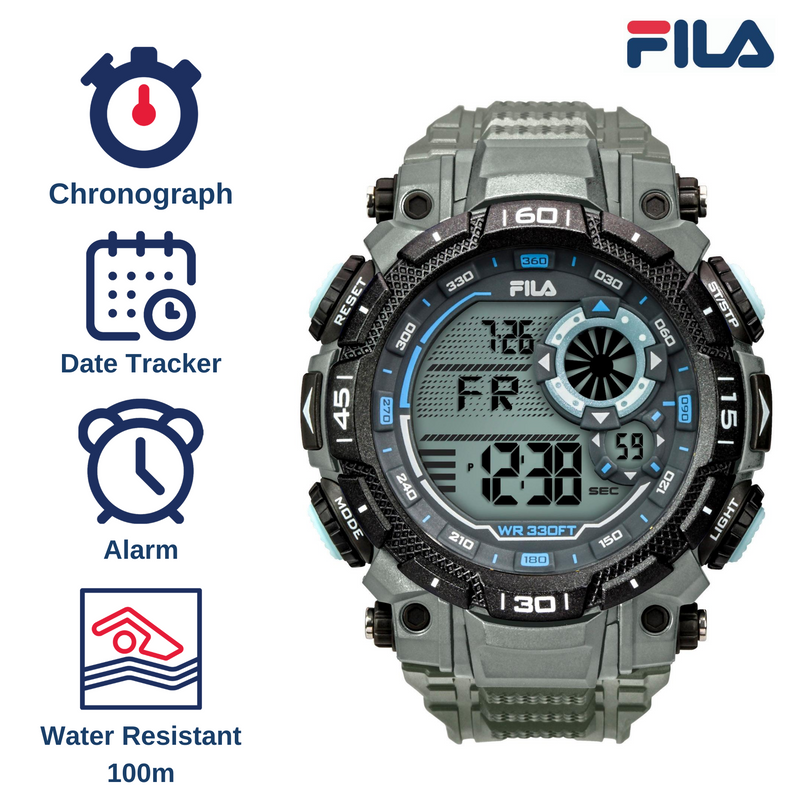 Picture with the key features of FILA | 38-826-004 | Men's and Women's Grey Digital Watch | Water Resistant | Stopwatch | Date Tracker | Alarm