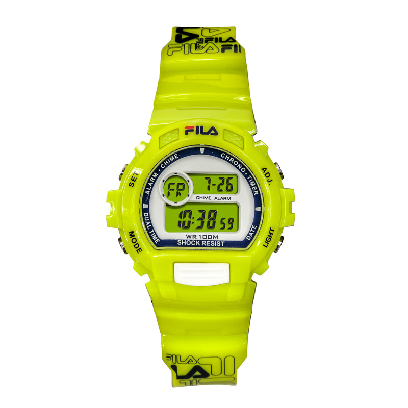 Picture of FILA | 38-191-004 | Men's and Women's Bright Yellow Digital Watch | Date Tracker | Stopwatch | Alarm | Backlight | Water Resistant