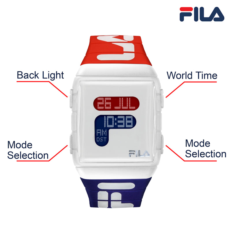 FILA | 38-105-005 | Men's and Women's Red, White, and Blue Digital Watch | Watch Button Description and Function