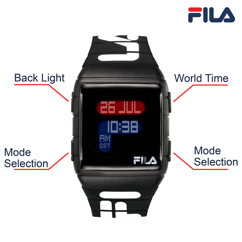 Picture with button description and function of FILA | 38-105-006 | Men's and Women's Black Digital Watch | World Time | Light Up Face | Water Resistant