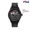 Picture with description of watch function of FILA | 38-129-202 | Men's and Women's White Analog Watch with Black and White Silicone Strap | Water Resistant