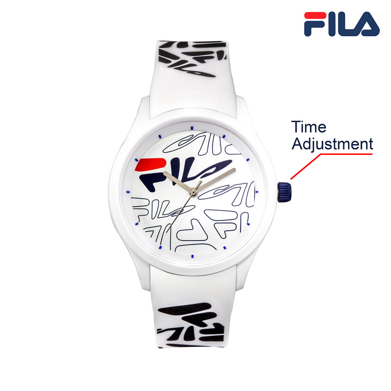 Picture with button description and function of FILA | 38-129-204 | Men's and Women's White Analog Watch with White and Black Silicone Strap | Water Resistant