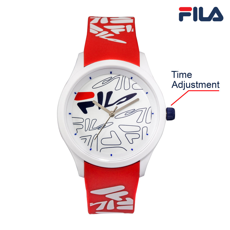 Picture with button description and function of FILA | 38-129-206 | Men and Women's White Analog Watch with Red and White Silicone Strap | Water Resistant