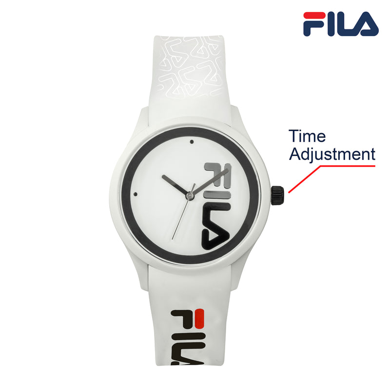 Picture with button description and function of FILA | 38-129-210 | Men and Women's White Analog Watch | Water Resistant