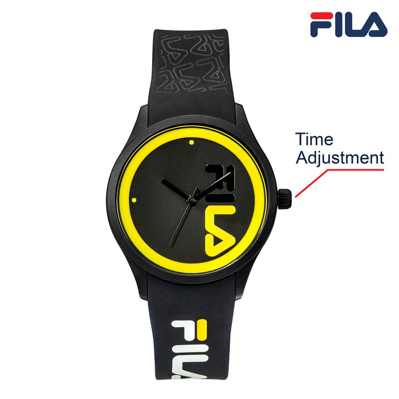 Picture with button description and function of FILA | 38-129-212 | Men and Women's Black and Yellow Analog Watch | Water Resistant