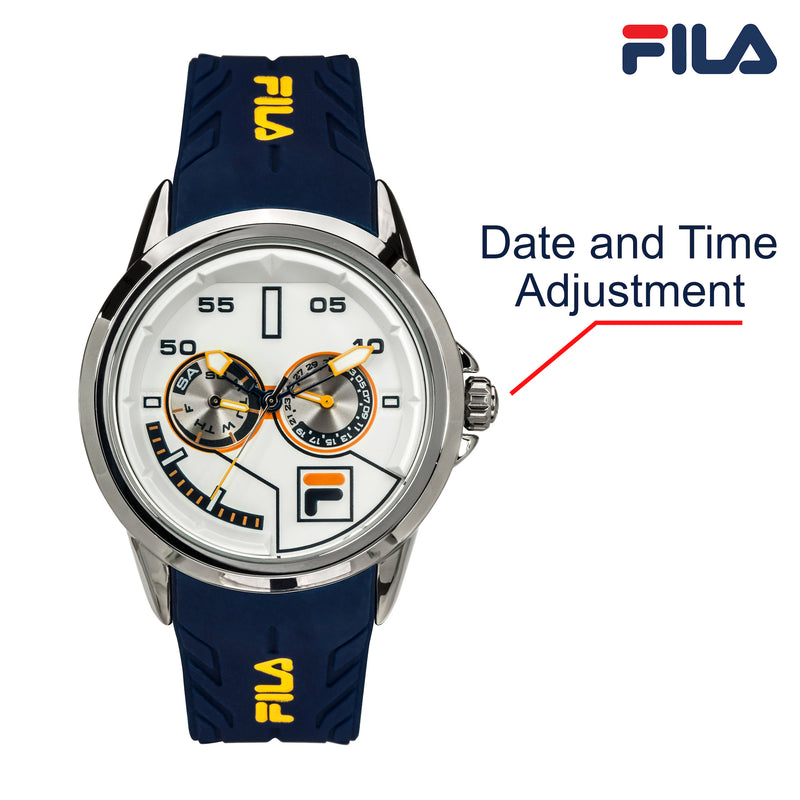 Picture with button description and function of FILA | 38-169-202 | Men and Women's Blue and Stainless Steel Analog Watch | Water Resistant | Date Tracker