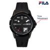 Picture with button description and function of FILA Wrist Watch | 38-170-001 | Men and Women's Blue and Stainless Steel Analog Watch | Water Resistant | Date Tracker