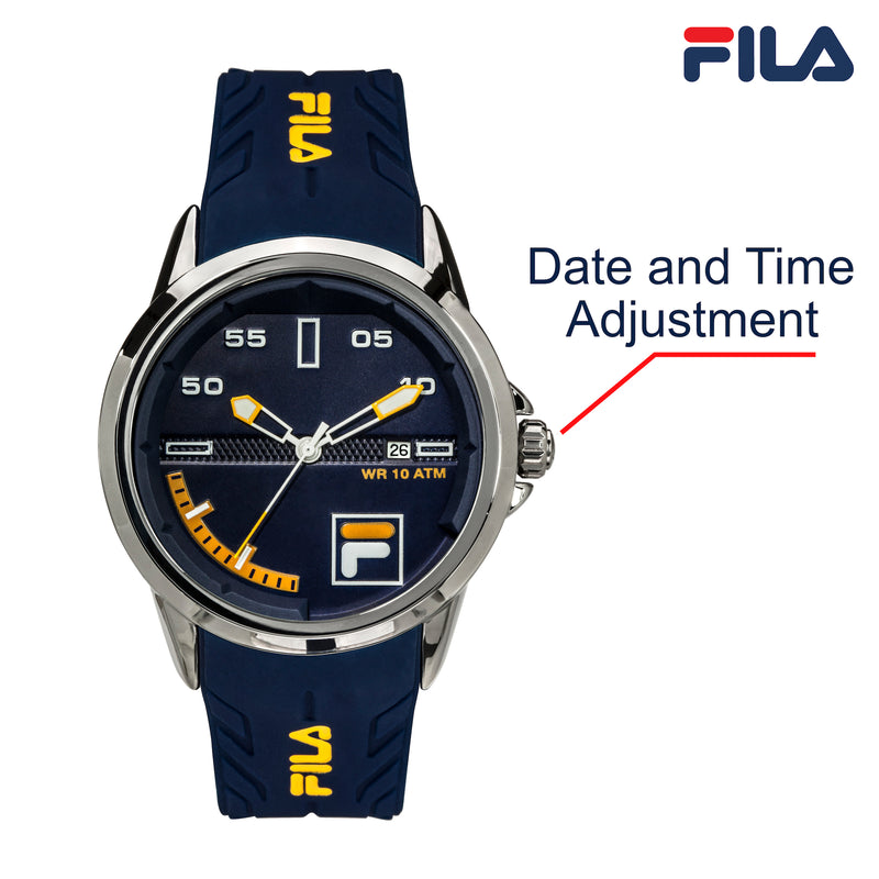 Picture with button description and function of FILA | 38-170-003 | Men's and Women's Blue and Stainless Steel Analog Watch | Date Tracker | Water Resistant