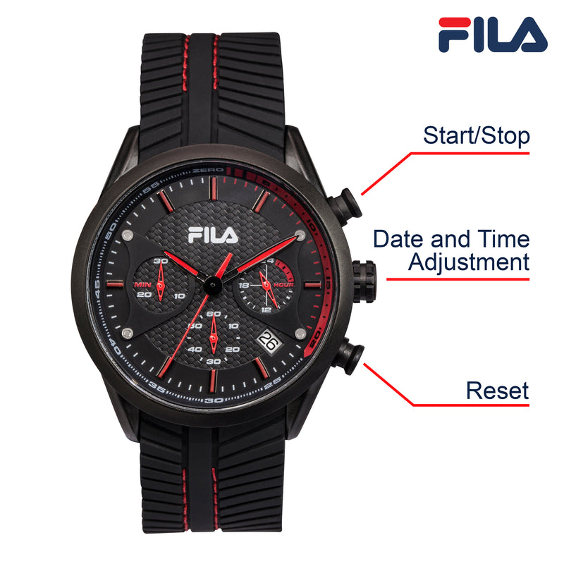 Picture with button description and function of FILA | 38-176-001 | Men's and Women's Black Analog Watch | Date Tracker | Stopwatch
