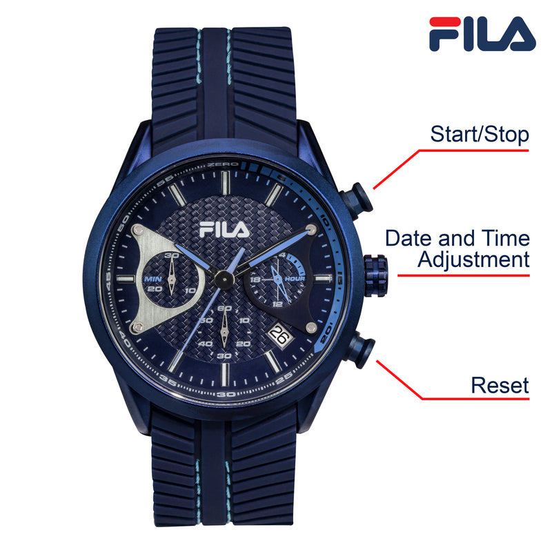 Picture with button description and function of FILA | 38-176-003 | Men's and Women's Blue Analog Watch | Date Tracker | Stopwatch