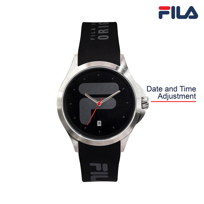 Picture with button description and function of FILA | 38-181-001 | Men's and Women's Black and Stainless Steel Analog Watch | Date Tracker