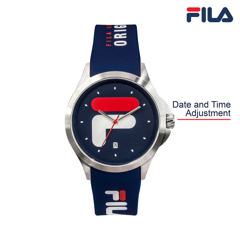 Picture with button description and function of FILA | 38-181-002 | Men's and Women's Blue and Stainless Steel Analog Watch | Date Tracker