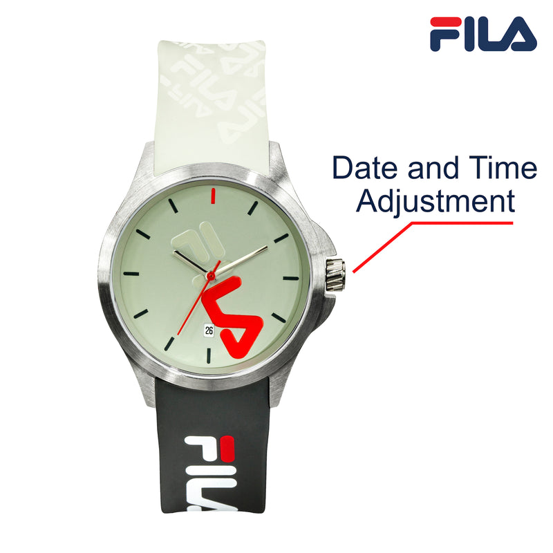 Picture with button description and function of FILA | 38-181-006 | Men's and Women's White, Green, and Stainless Steel Analog Watch | Date Tracker
