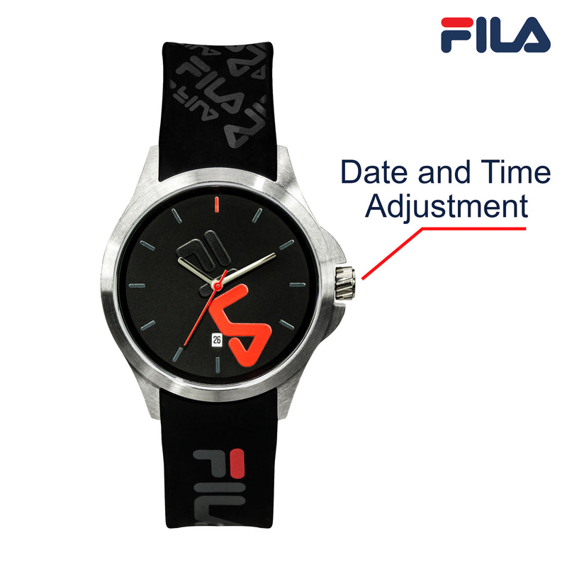 Picture with button description and function of FILA | 38-181-007 | Men's and Women's Black and Stainless Steel Analog Watch | Date Tracker