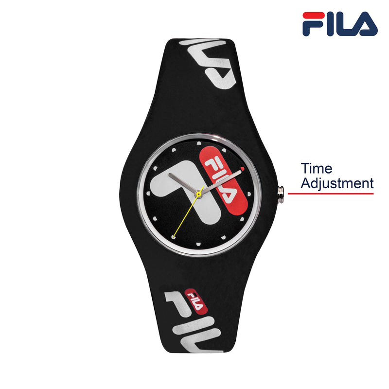 Picture with button description and function of FILA | 38-185-001 | Men's and Women's Black Analog Watch | Water Resistant