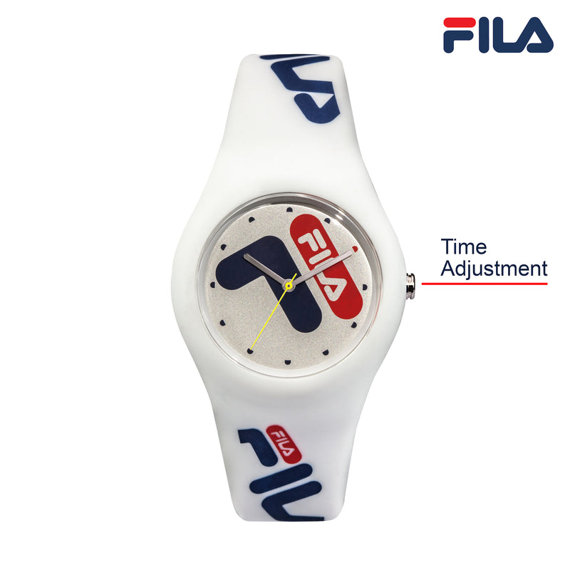 Picture with button description and function of FILA | 38-185-003 | Men's and Women's White Analog Watch | Water Resistant
