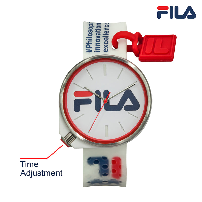 Picture with button description and function of FILA | 38-199-004 | Men's and Women's White Analog Watch | Water Resistant