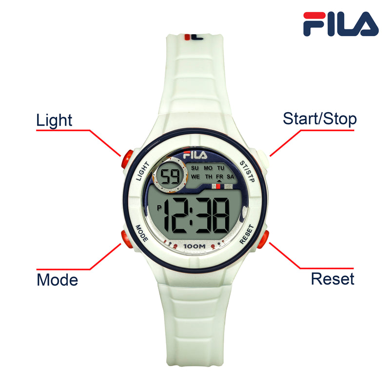 Picture with button description and function of FILA | 38-205-002 | Kids Unisex White Digital Watch | Date Tracker | Alarm | Stopwatch | Light Up Face