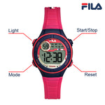 Picture with button description and function of FILA | 38-205-004 | Kids Unisex Hot Pink and Purple Digital Watch | Date Tracker | Alarm | Stopwatch | Light Up Face