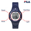 Picture with button description and function of FILA | 38-213-001 | Kids Unisex Blue Digital Watch | Date Tracker | Alarm | Stopwatch | Light Up Face