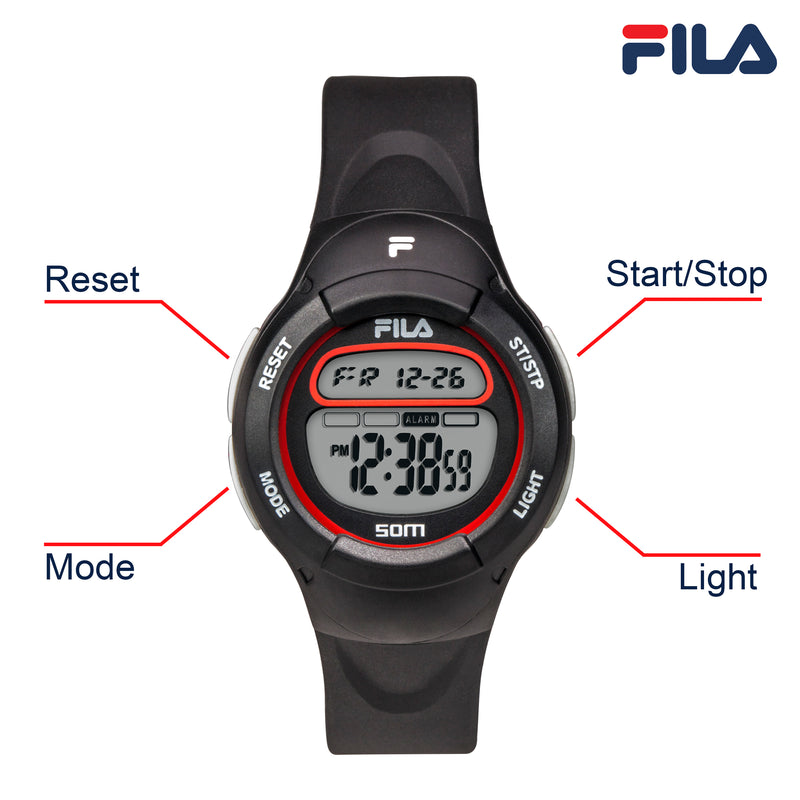 Picture with button description and function of FILA | 38-213-002 | Kids Unisex Black Digital Watch | Date Tracker | Alarm | Stopwatch | Light Up Face