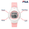 Picture with button description and function of FILA | 38-213-005 | Kids Unisex Pink and White Digital Watch | Date Tracker | Alarm | Stopwatch | Light Up Face