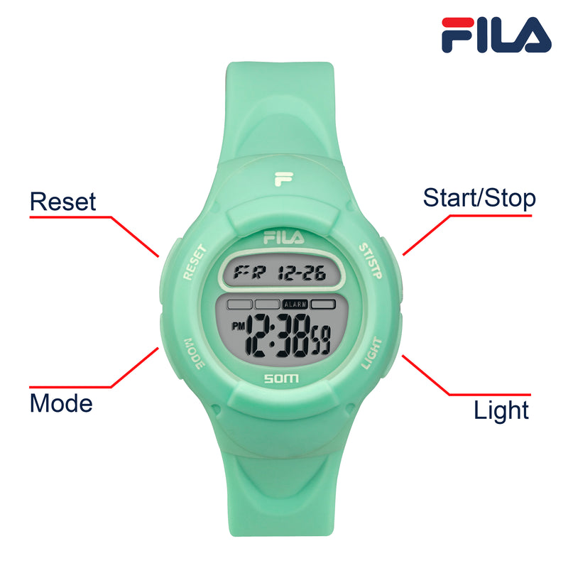 Picture with button description and function of FILA | 38-213-007 | Kids Unisex Green Digital Watch | Date Tracker | Alarm | Stopwatch | Light Up Face