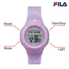 Picture with button description and function of FILA | 38-213-008 | Kids Unisex Purple Digital Watch | Date Tracker | Alarm | Stopwatch | Light Up Face