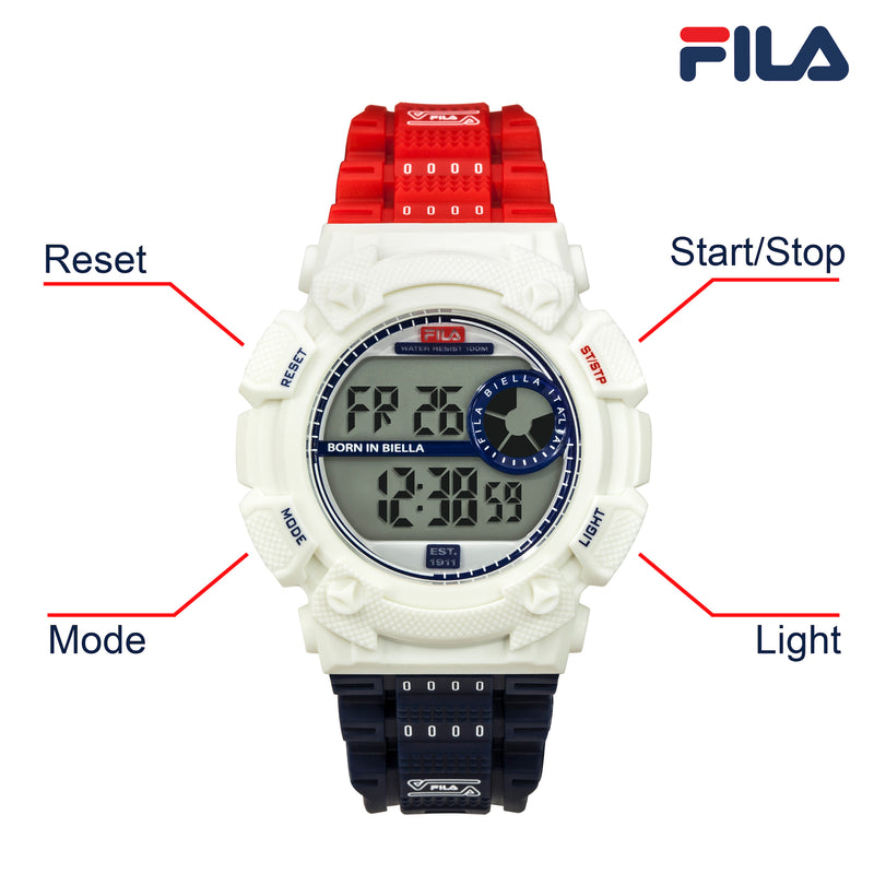 Picture with button description and function of FILA | 38-312-003 | Men's and Women's Red, White, and Blue Digital Watch | Date Tracker | Stopwatch | Alarm | Light Up Face