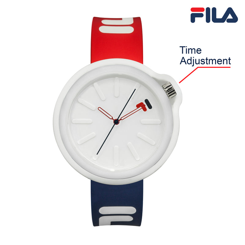 Picture with button description and function of FILA | 38-315-001DBRD | Men's and Women's Red, White, and Blue Analog Watch | Water Resistant | Interchangeable Case