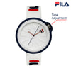 Picture with button description and function of FILA | 38-315-003WHRD | Men's and Women's White and Blue Analog Watch | Water Resistant | Interchangeable Case