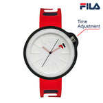 Picture with button description and function of FILA | 38-315-005WHDB | Men's and Women's Red and Blue Analog Watch | Water Resistant | Interchangeable Case