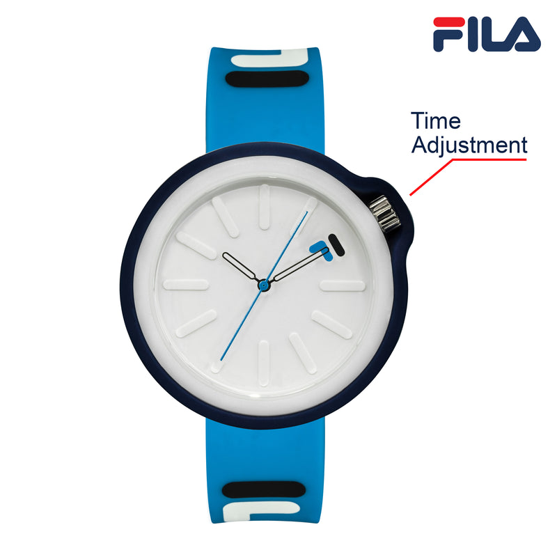 Picture with button description and function of FILA | 38-315-007DBWH | Men's and Women's Blue Analog Watch | Water Resistant | Interchangeable Case
