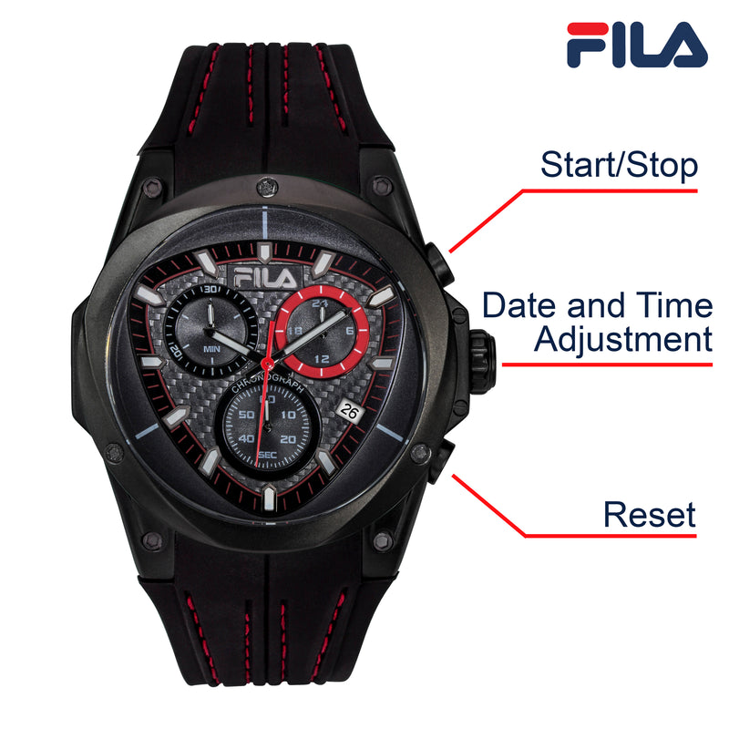 Picture with button description and function of FILA | 38-821-004 | Men's and Women's Black Analog Watch | Water Resistant | Stopwatch