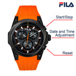 Picture with button description and function of FILA | 38-821-006 | Men's and Women's Orange and Black Analog Watch | Water Resistant | Stopwatch