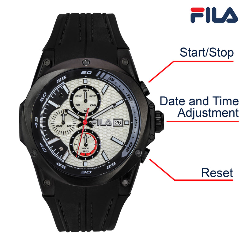 Picture with button description and function of FILA | 38-823-006 | Men's and Women's Black and White Analog Watch | Water Resistant | Stopwatch