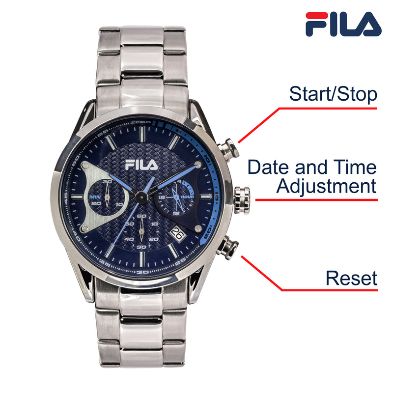 Picture with button description and function of FILA | 38-827-004 | Men's and Women's Elegant Stainless Steel Analog Watch | Water Resistant | Stopwatch