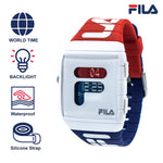 FILA | 38-105-005 | Men's and Women's Red, White, and Blue Digital Watch | World Time | Light Up Face | Water Resistant | Silicone Strap