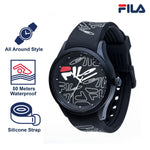 Picture with key features of FILA | 38-129-202 | Men's and Women's White Analog Watch with Black and White Silicone Strap | Water Resistant