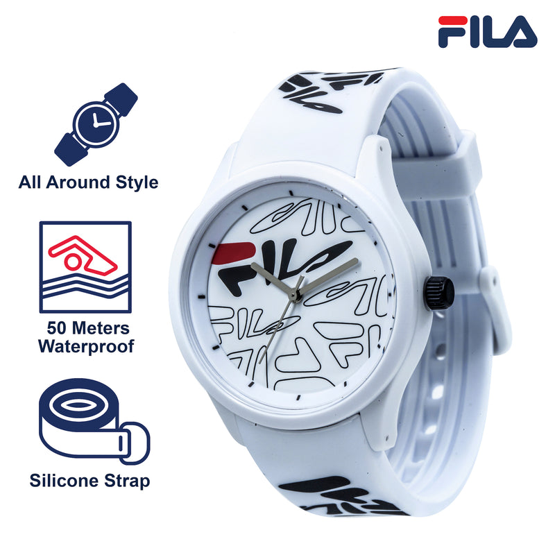 Picture with key fixtures of FILA | 38-129-204 | Men's and Women's White Analog Watch with White and Black Silicone Strap | Water Resistant