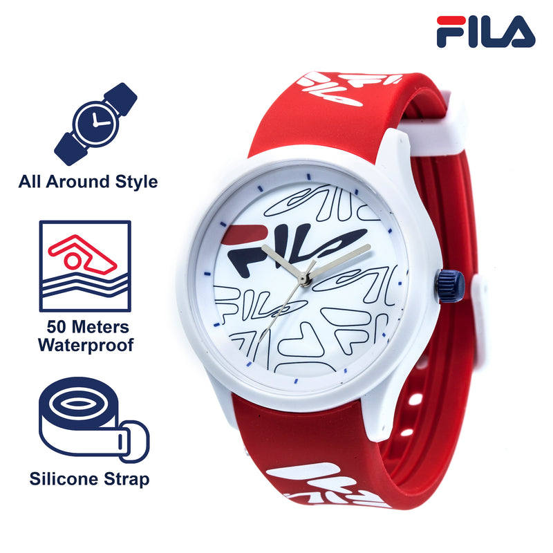 Picture with key features of FILA | 38-129-206 | Men and Women's White Analog Watch with Red and White Silicone Strap | Water Resistant