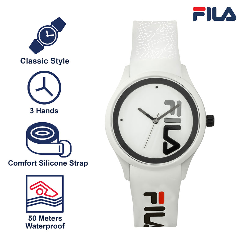 Picture with key features of FILA | 38-129-210 | Men and Women's White Analog Watch | Water Resistant