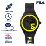 Picture with the key features of FILA | 38-129-212 | Men and Women's Black and Yellow Analog Watch | Water Resistant