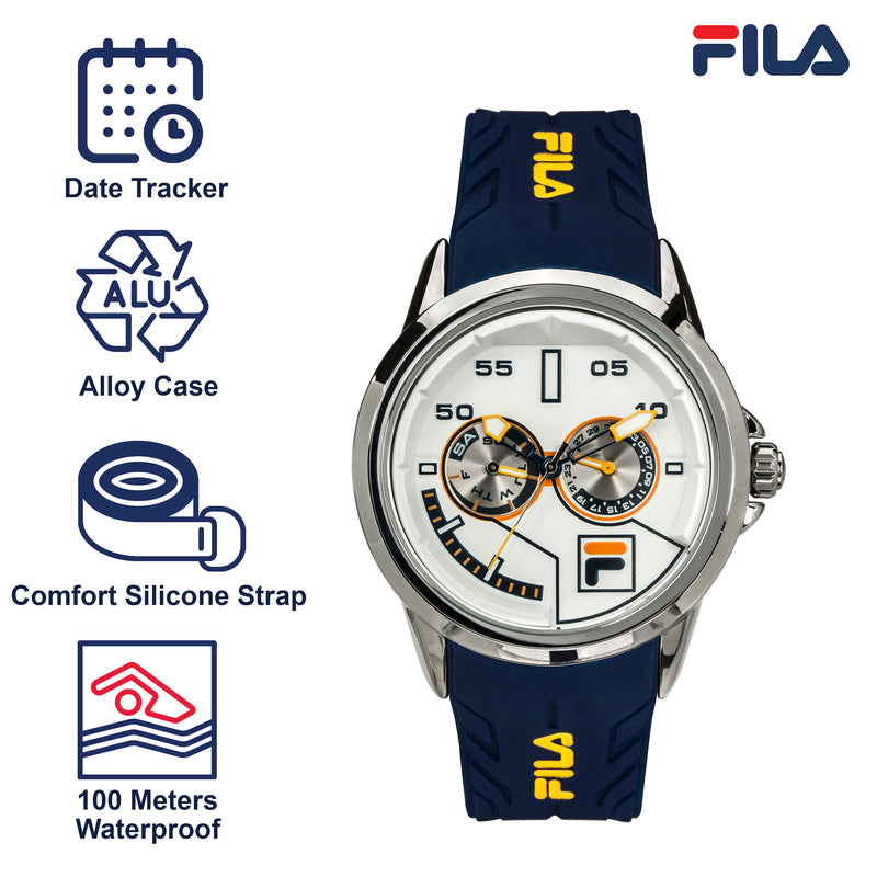 Picture with the key features of FILA | 38-169-202 | Men and Women's Blue and Stainless Steel Analog Watch | Water Resistant | Date Tracker