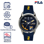 Picture with the key features of FILA | 38-170-003 | Men's and Women's Blue and Stainless Steel Analog Watch | Date Tracker | Water Resistant