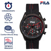 Picture with the key features of FILA | 38-176-001 | Men's and Women's Black Analog Watch | Date Tracker | Stopwatch