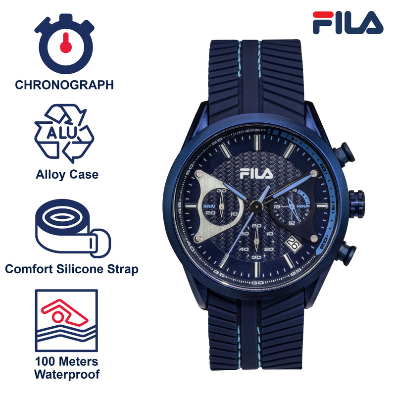 Picture with the key features of FILA | 38-176-003 | Men's and Women's Blue Analog Watch | Date Tracker | Stopwatch