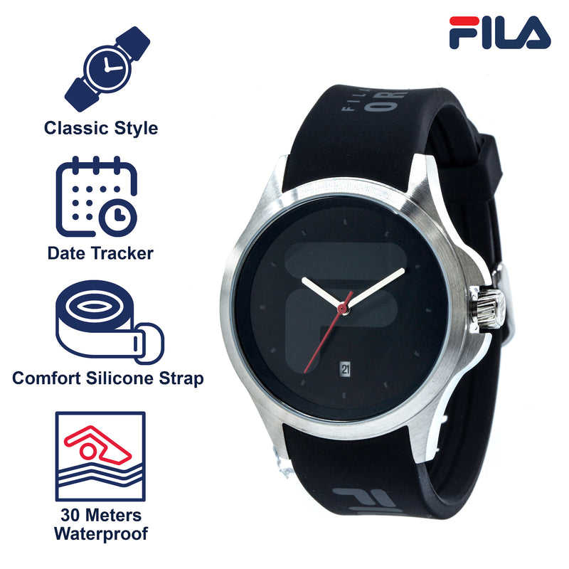 Picture with the key features of FILA | 38-181-001 | Men's and Women's Black and Stainless Steel Analog Watch | Date Tracker