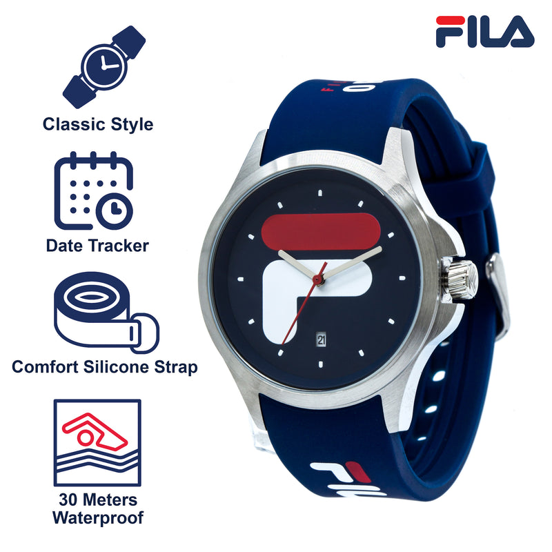 Picture with the key features of FILA | 38-181-002 | Men's and Women's Blue and Stainless Steel Analog Watch | Date Tracker