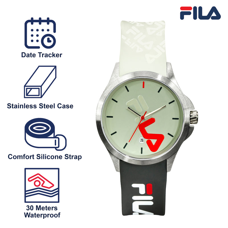 Picture with the key features of FILA | 38-181-006 | Men's and Women's White, Green, and Stainless Steel Analog Watch | Date Tracker